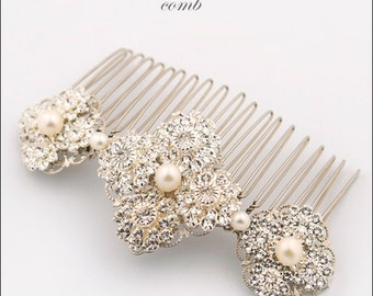 Wedding hair comb - crystal hair comb - crystal and pearl comb - Swarovski crystal - silver bridal comb - gold headpiece - Sabelle comb