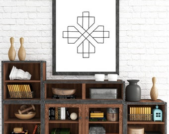 Printable Tribal, Printable Four Diamond Art, Modern Minimalist, Black and White Modern, Nursery Art, Modern Art, Digital Download Art Print