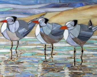 Royal Terns Print - Terns Mosaic - Limited Edition Giclee Print - Seagull Art  Stained Glass Birds - Bird Art Print - Sea Print - Bird Print