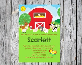 Farm Birthday Invitation, Barnyard Birthday Invitation, Farm 1st Birthday Invitation