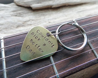 Dad Guitar Pick Keychain- Couldn't Pick a Better Dad- Father's Day Gift Metal Pick- Plectrum Pun Brass Father Stamped Musician Keyring
