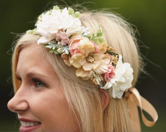 Blush, Ivory & Gold Bridal Flower Crown - Flower Girl Crown - Photo Prop - Bridal Flower Halo - Blush Hair Wreath -Pink Wedding Flower Crown