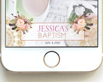 Christening Geofilter Baby Baptism Floral Geofilter Church Geofilter Geofilter Baptism pink Floral baptism