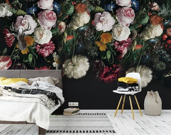 Dutch dark vintage floral removable wallpaper wall mural Floral peel and stick wallpaper