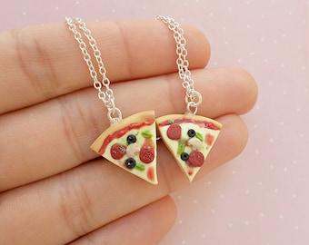 Pizza Friendship Necklace, Best Friend Necklace, BFF Necklace, Pizza Jewelry, Pizza Necklace, Food Jewelry, Food Necklace, Friendship Gift