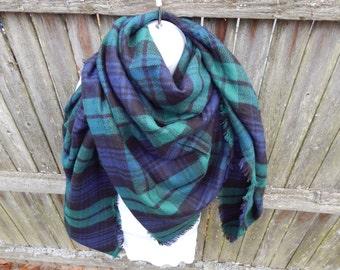 Green / Black / Blue Plaid Blanket Scarf