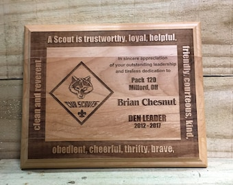 Cub Scout Leader Red Alder Plaque 5 x 7
