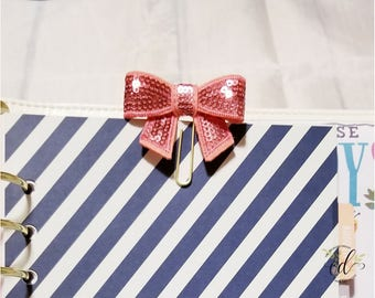 Sequin Bow Clips | Bow Planner Clips | Sparkly Bow Planner Clips | Glitter Planner Clips | Planner Accessories | Planner Supplies | Office