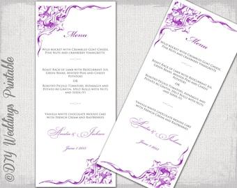 """Purple Wedding menu template - Violet printable menu """"Corner Scroll"""" DIY -  Editable Word digital download to print at home"""