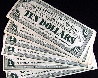 6 Vintage Paper Play Money