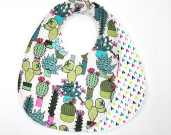 Baby Bibs / Cactus / Baby girl / Set of 2 / Cotton and Terry Cloth / Absorbent / 6M - 24M / FREE SHIPPING in USA