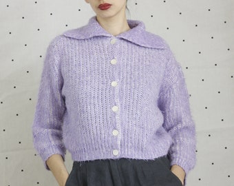 50s 1950s Pullover Cardigan//VLV Sailor Collar Sweater// Vintage Pastel Cardigan