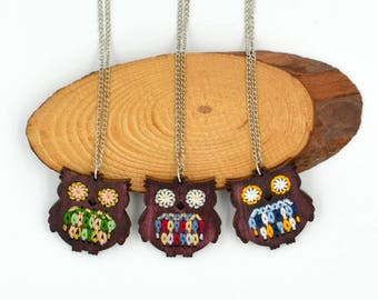 Embroidered Wooden Owl Necklace