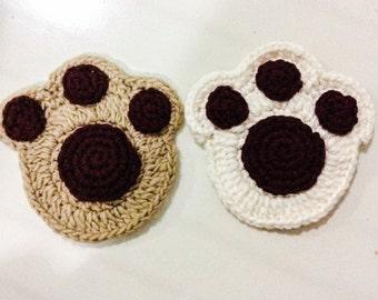 Paw print coaster crochet pattern