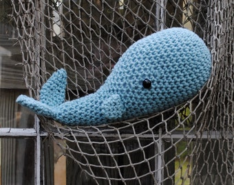 Woolie Whale Hand Crochet Plush- Nantucket Blue-Small