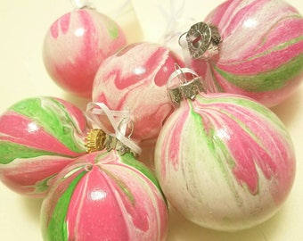 Hand painted glass ornament- pink/green
