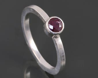 Genuine Ruby Stacking Ring. Sterling Silver. July Birthstone. Genuine Gemstone. Ready to Ship. Size 4. s17r008