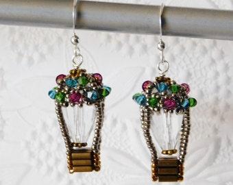 Hot Air Balloon Earring Kit_Beaded Earrings_Bead Pattern_Netting_Crystal Earrings_DIY_Pink_Blue_Green_Crystal Jewelry_Jewelry Design