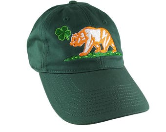 St-Patrick's Irish Flag California Bear Embroidery on Adjustable Forest Green Unstructured Baseball Cap with Option to Personalize the Back