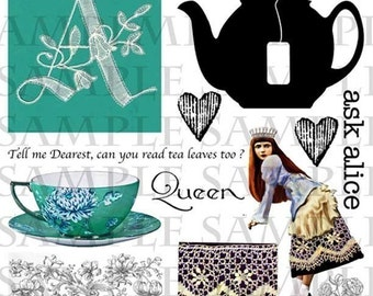 ART TEA LIFE Alice in Wonderland Digital Collage Sheet Go Ask Alice The Tea Party Queen page two