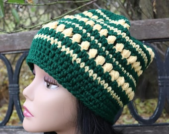 Bailey Street Slouchy hunter green and amber for teens and adults hand crocheted