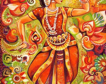 Indian classical dance painting, Bharatanatyam, Goddess dancer, Indian woman dancer, Indian decor, poster woman wall print 8x11+