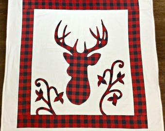 Deer blanket, lap blanket, baby blanket, woodland blanket, flannel, fleece, red/black buffalo check plaid, hunter plaid, rustic, appliqué