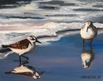 Two Sandpipers - Original Oil Painting