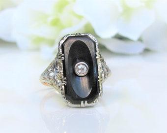Antique Edwardian Onyx & Diamond Ring Petite Old Mine Cut Diamond Antique Engagement Ring 14K Two Tone Gold Filigree Antique Wedding Ring