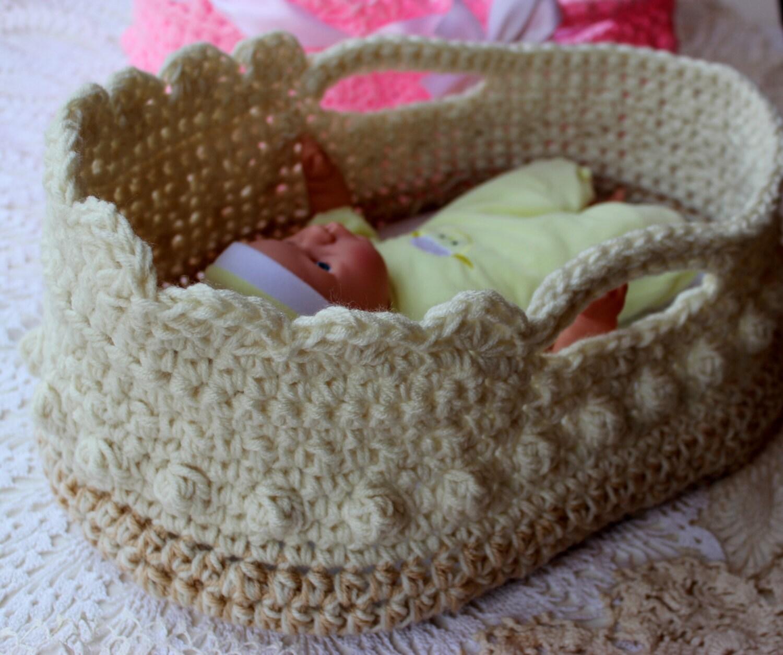 Crochet Moses Basket - Doll Carrier Crochet Pattern - 12-16\