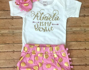 abuela outfit, grandma is my bff, abuela is my bestie, abuela baby outfit, abuela bff, abuela shirt, abuela gift, grandma gift, spanish baby