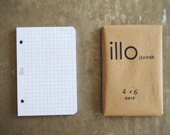 "60 sheets, 4""x6"", extra notebook paper for Illo Leather refillable notebooks 80lb Rolland Enviroprint 100% post consumer recycled paper"