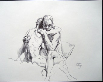 Original drawing male figures embracing