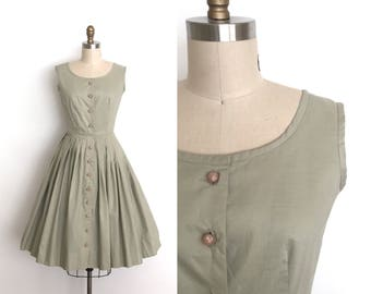 vintage 1950s dress | 50s button cotton dress