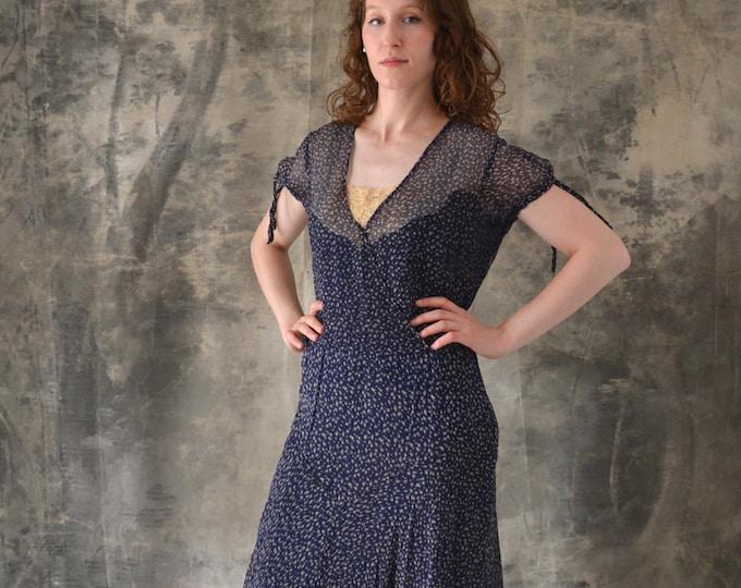 1920s / 1930s Navy Sheer Silk Print Dress