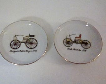 Miniature Plates With Antique Cars and Gold Trim