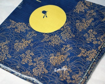 Furoshiki with Ordered Your Name by Embroidery Eco Wrapping Cloth Rabbit and moon Tsukimi  Cotton 50 x 50cm Blue