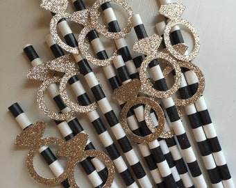 Gold Glitter Diamond Engagment Ring Black Striped Party Straws
