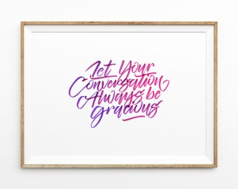 Pretty Purple & Pink Typography Poster   hand drawn brush lettering   inspirational quote