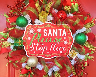 Santa Claus Christmas wreath Red and green Christmas wreath Christmas wreath Holiday day wreath ornament wreath