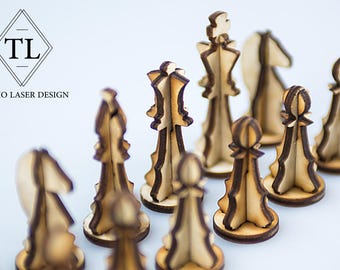 3d Wood puzzle: Chess