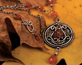 Rustic Embroidery Sterling Silver 'Autumnal' necklace a114 Carnelian stone . carved orange flower stone . Spring handwoven . artisan jewelry