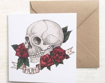 Skull And Rose Tattoo Style 'Mum' Mothers Day Card