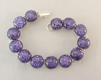8 Inch Purple Dichroic Fused Glass Bracelet, 8 Inch Bracelet, Lavender, Fused Glass, Fused Glass Bracelet, Glass Bracelet, Dichroic Bracelet