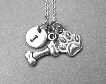 Dog bone necklace, Dog paw necklace, paw print necklace, dog jewelry, dog necklace, personalized necklace, initial necklace, initial charm