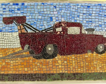 Mosaic Burgundy /Red Chevy Pick Up Truck approx. 1959