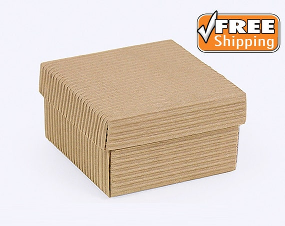 10 Gift Boxes with Lids Natural Corrugated Gift Box Kraft Craft