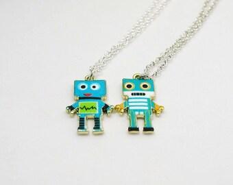 Robot Necklace Set - Robot Pendant Set - Geek Necklace - Miniature Robot - Tech Lover - Geek Jewelry - Best Friend Necklace - Robot Jewelry