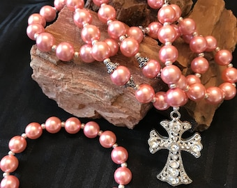 Pink Pearl Five Decade Rosary Necklace