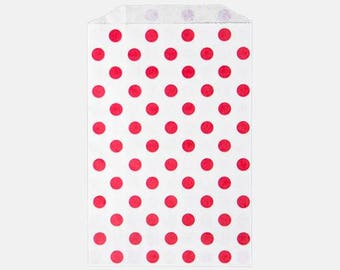 Red Polka Dot bags - Polka Dot Party - Polka Dot Party Bags - Party Sacks - 6x9 Party Sacks - Candy Buffet - Wedding Party Favors - Red Dot
